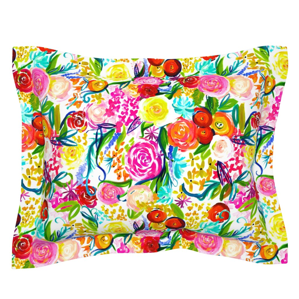 "Sebright Pillow Sham featuring Neon Summer Floral ""Regular"" 18"" Repeat by theartwerks"