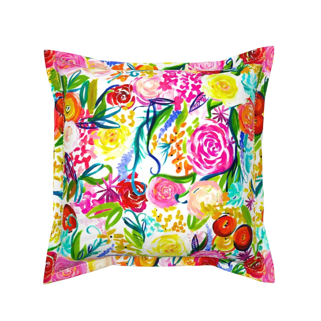"Serama Throw Pillow featuring Neon Summer Floral ""Regular"" 18"" Repeat by theartwerks"