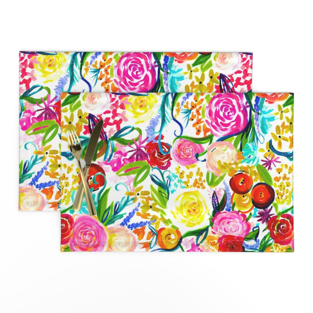 """Lamona Cloth Placemats featuring Neon Summer Floral """"Regular"""" 18"""" Repeat by theartwerks"""