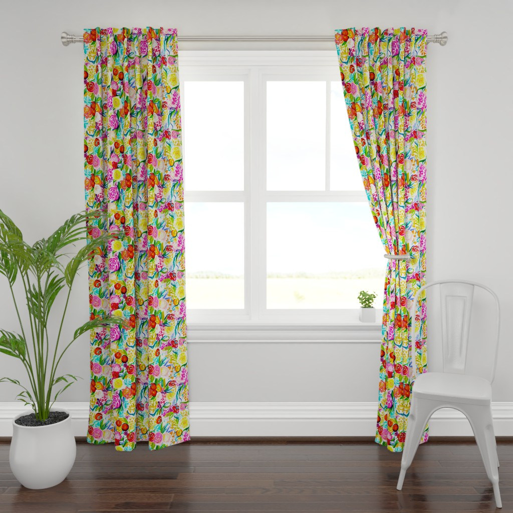 "Plymouth Curtain Panel featuring Neon Summer Floral ""Regular"" 18"" Repeat by theartwerks"