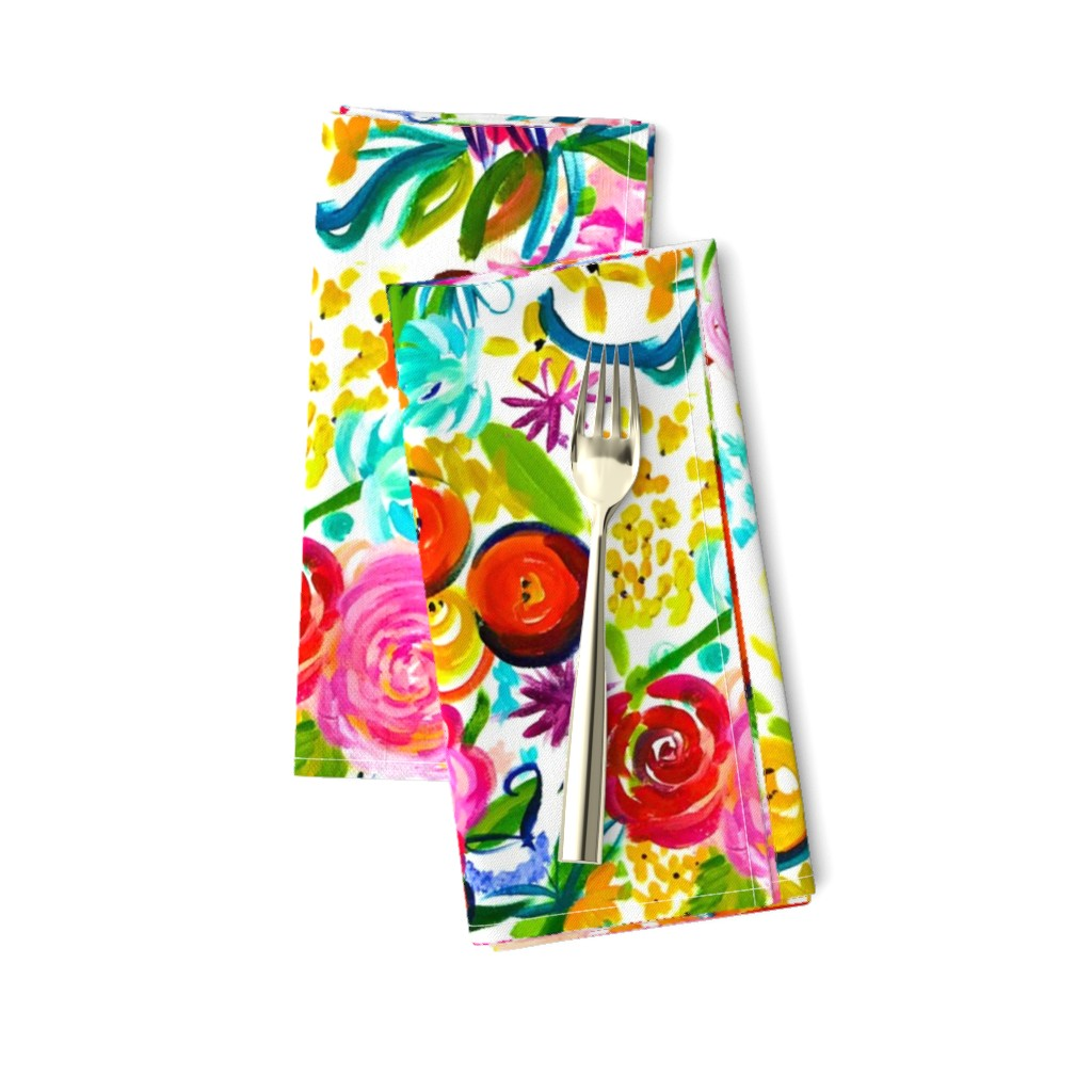 "Amarela Dinner Napkins featuring Neon Summer Floral ""Regular"" 18"" Repeat by theartwerks"