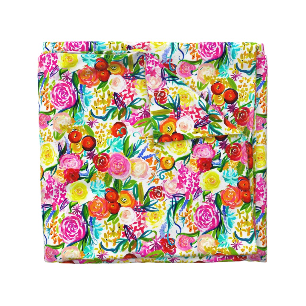 "Wyandotte Duvet Cover featuring Neon Summer Floral ""Regular"" 18"" Repeat by theartwerks"