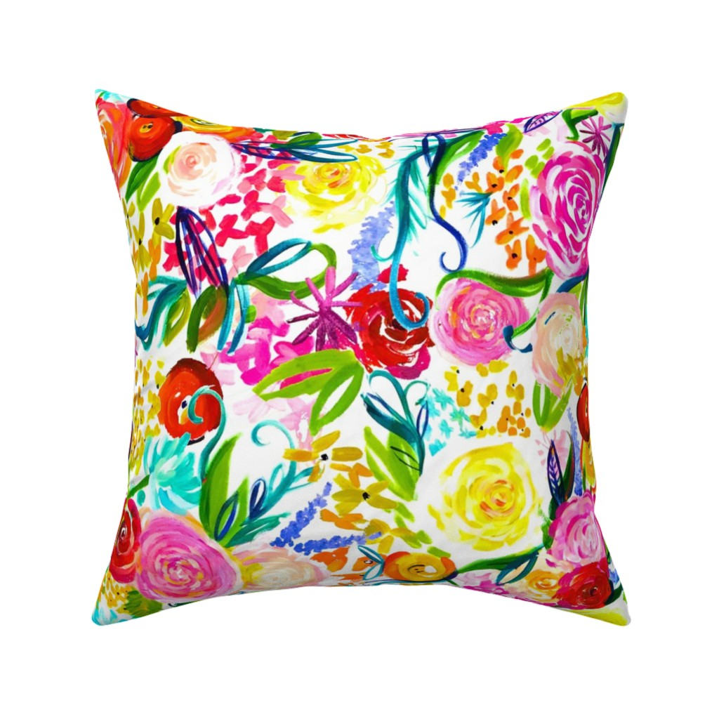 "Catalan Throw Pillow featuring Neon Summer Floral ""Regular"" 18"" Repeat by theartwerks"