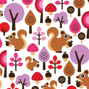 Violet fall squirrel girls woodland design with flower and trees