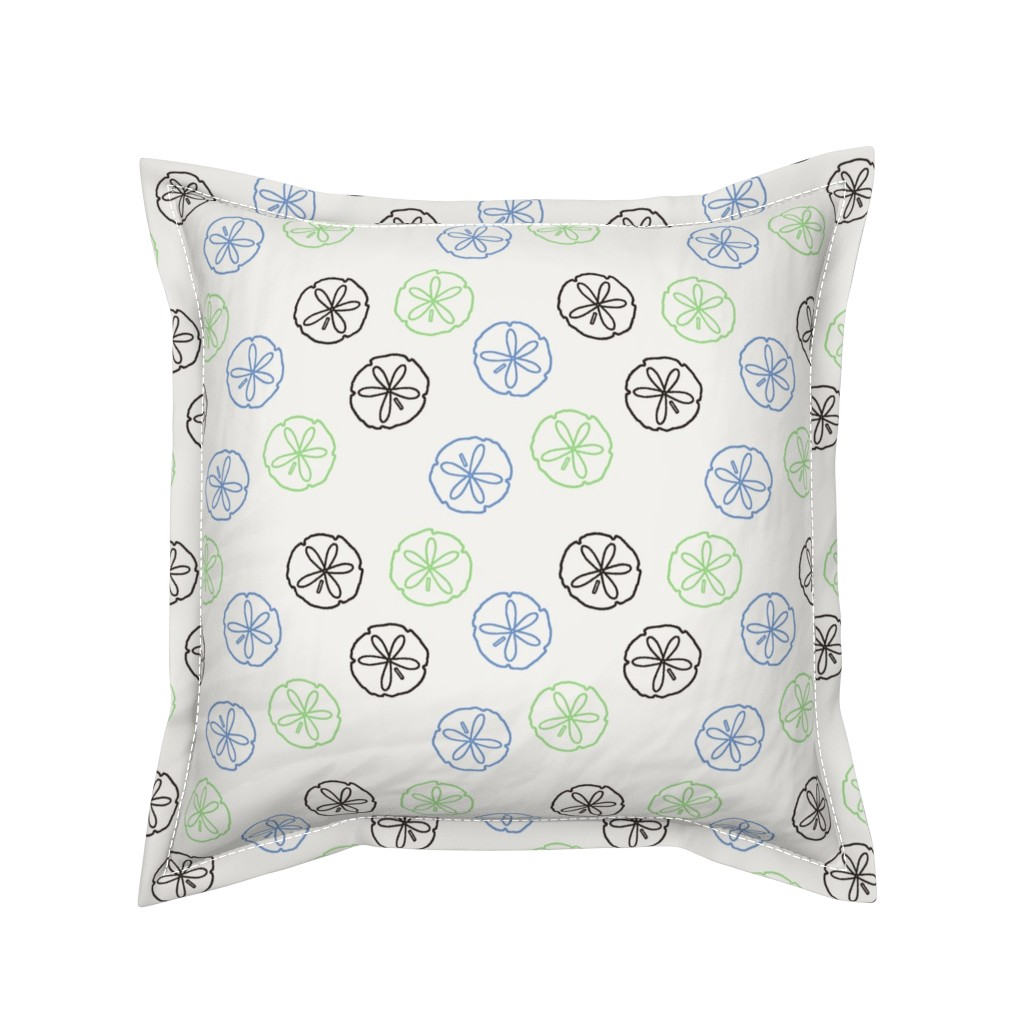 Serama Throw Pillow featuring Sea Gift - Sand Dollars white by inscribed_here