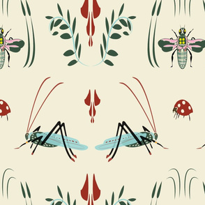 Kadydids and Bees.Ladybugs (cream)