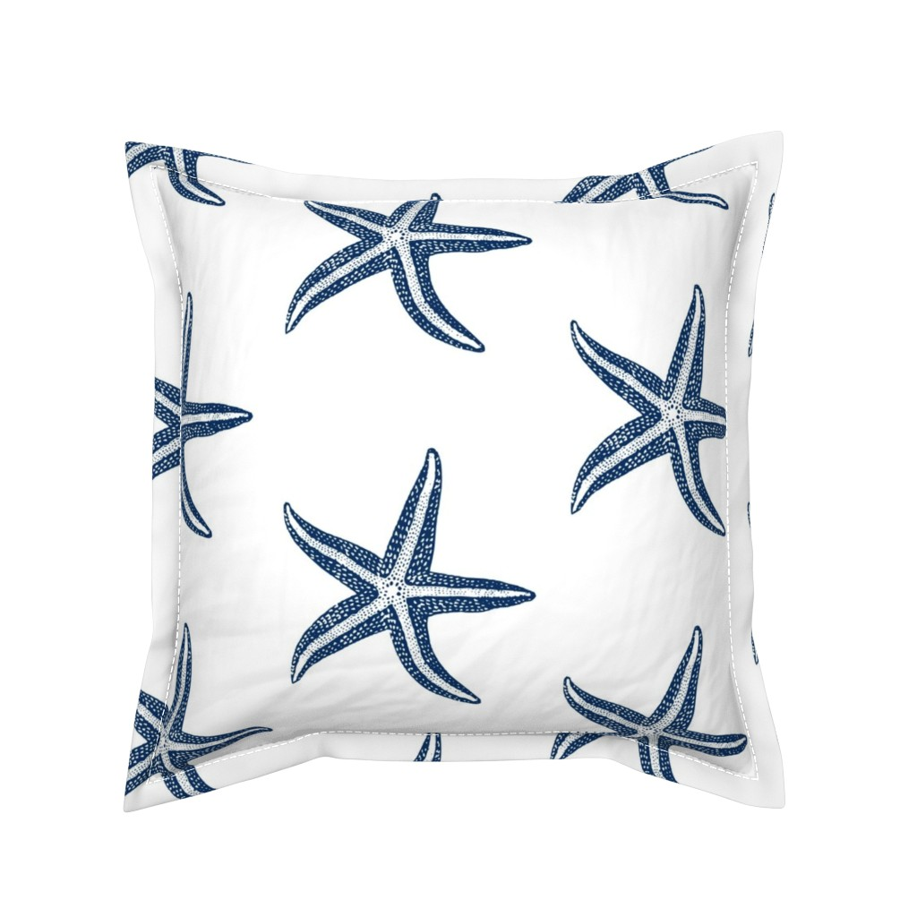 Serama Throw Pillow featuring I wish upon a Starfish Blue by lisakling