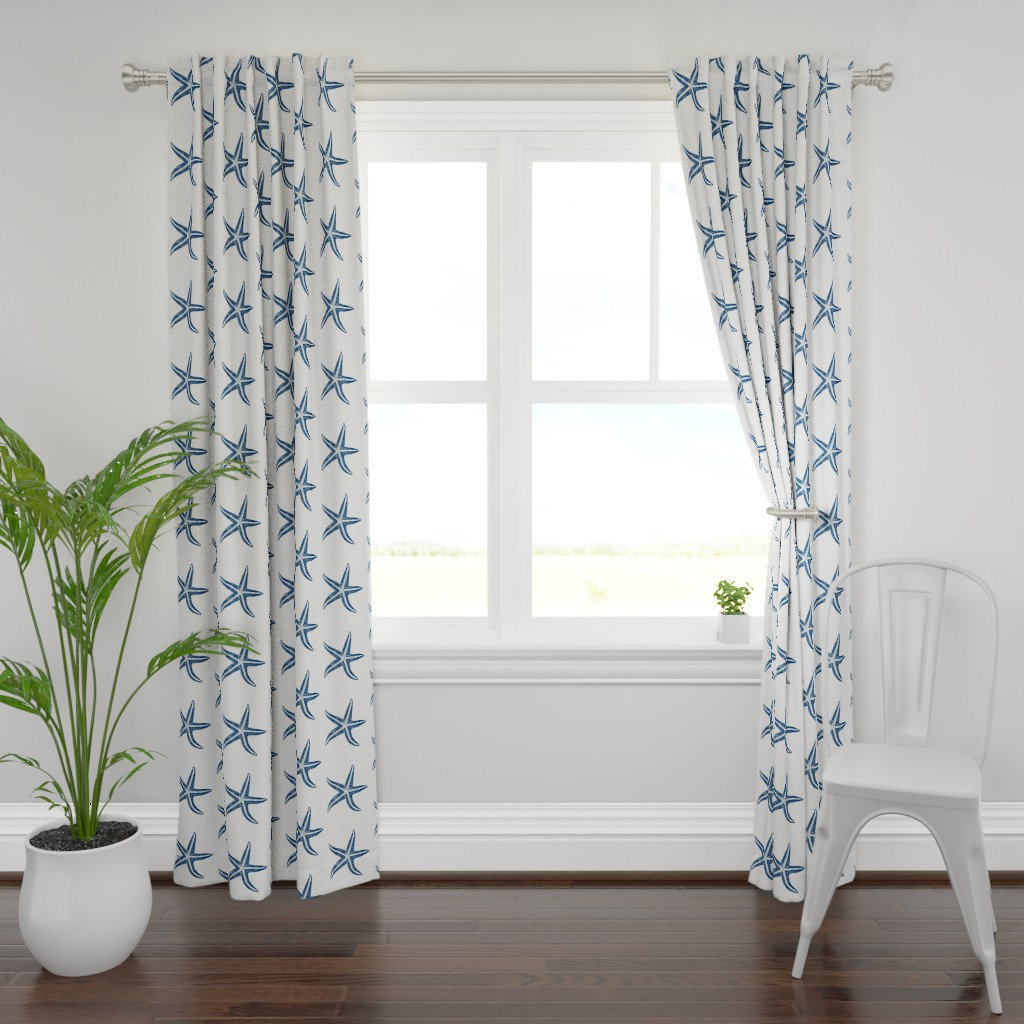 Plymouth Curtain Panel featuring I wish upon a Starfish Blue by lisakling
