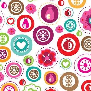 Bubble garden flowers summer fruit and love bubbles design for kids