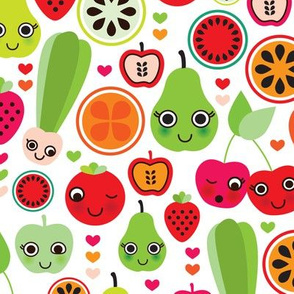 Smiling apples and cherry fun fruit garden summer design