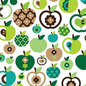 Retro apple kitchen print green fruit summer
