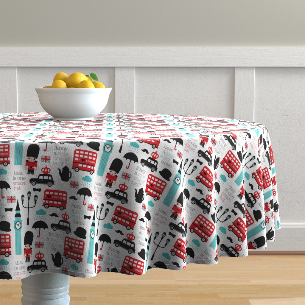 Malay Round Tablecloth featuring Crazy for London double decker tea big ben and travel icon design by littlesmilemakers