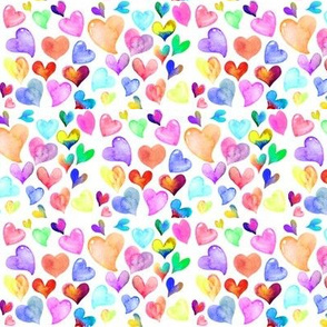 Colorful Watercolor Hearts // white