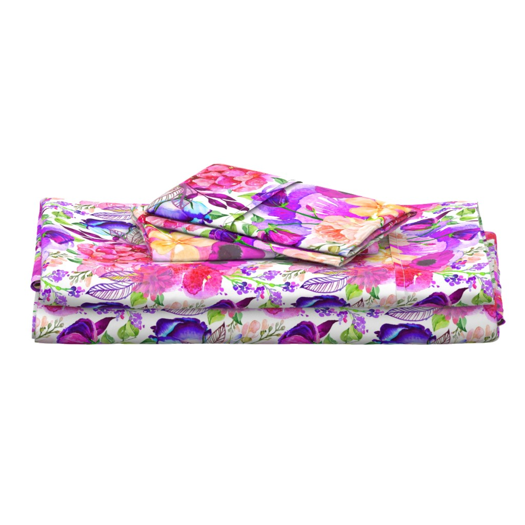 Langshan Full Bed Set featuring Pretty in Pink Watercolor Floral  by theartwerks