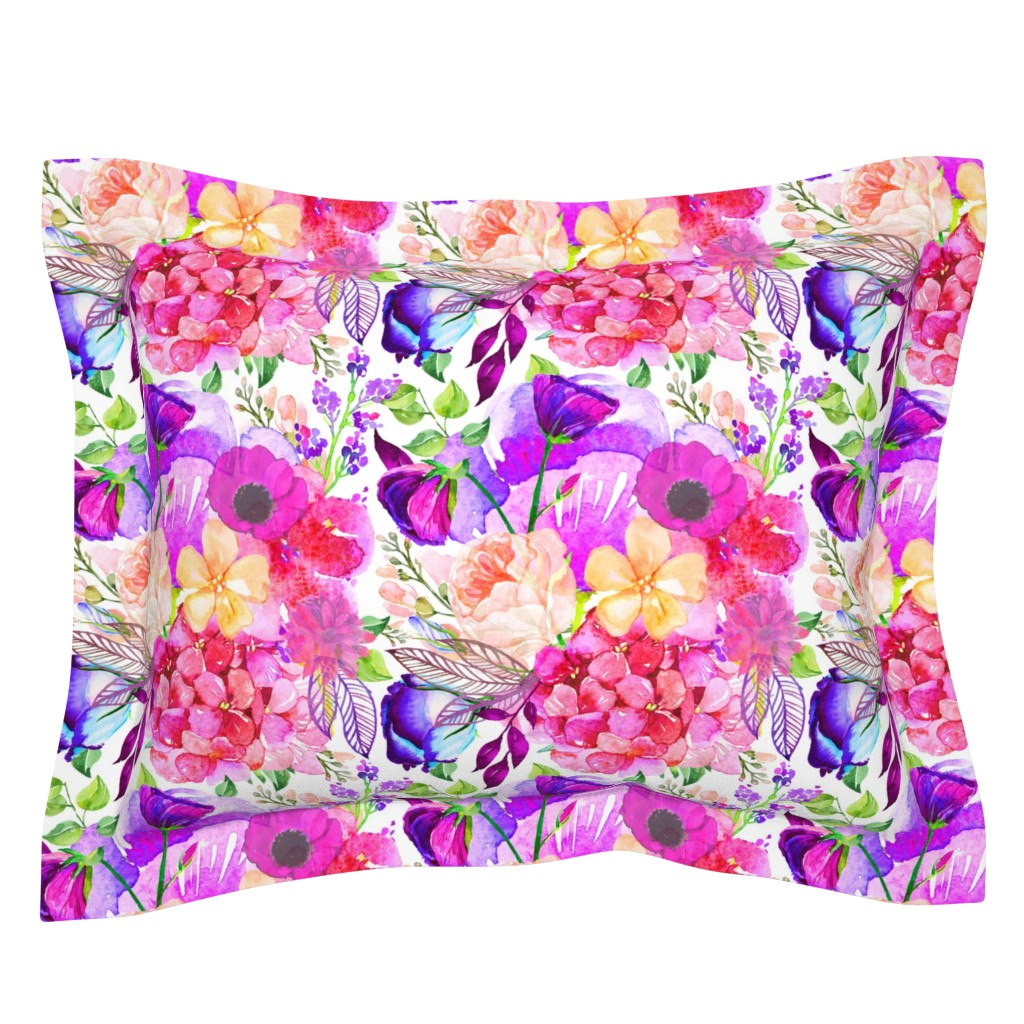 Sebright Pillow Sham featuring Pretty in Pink Watercolor Floral  by theartwerks
