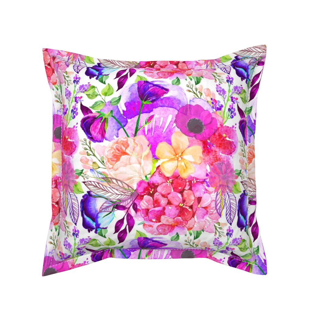 Serama Throw Pillow featuring Pretty in Pink Watercolor Floral  by theartwerks