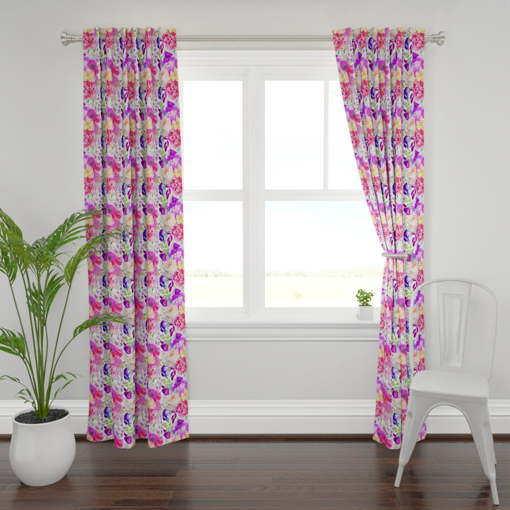 Plymouth Curtain Panel featuring Pretty in Pink Watercolor Floral  by theartwerks