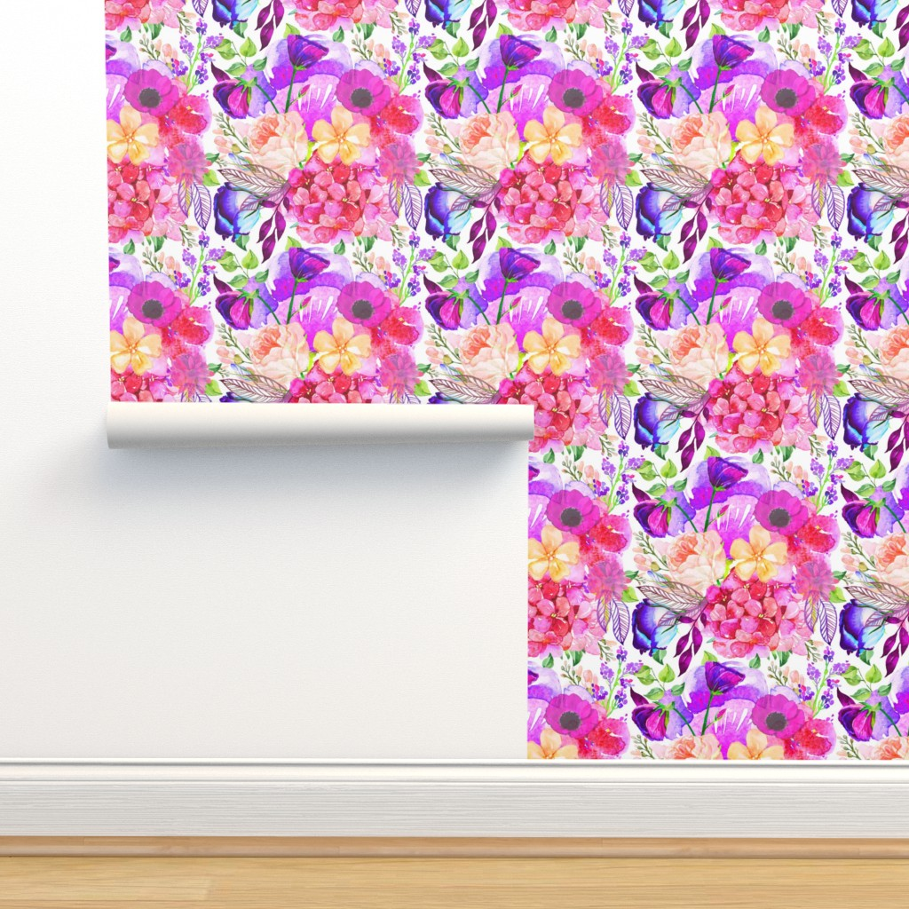 Isobar Durable Wallpaper featuring Pretty in Pink Watercolor Floral  by theartwerks