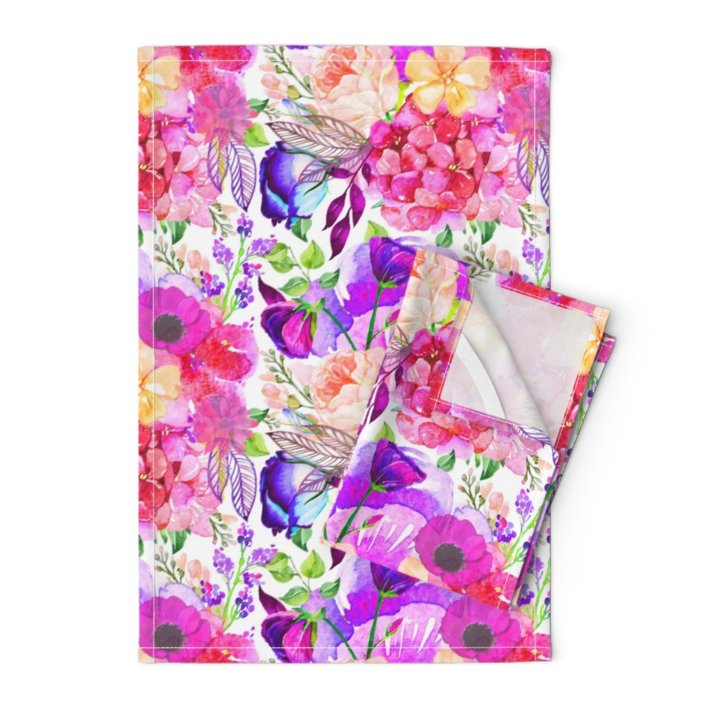 Orpington Tea Towels featuring Pretty in Pink Watercolor Floral  by theartwerks