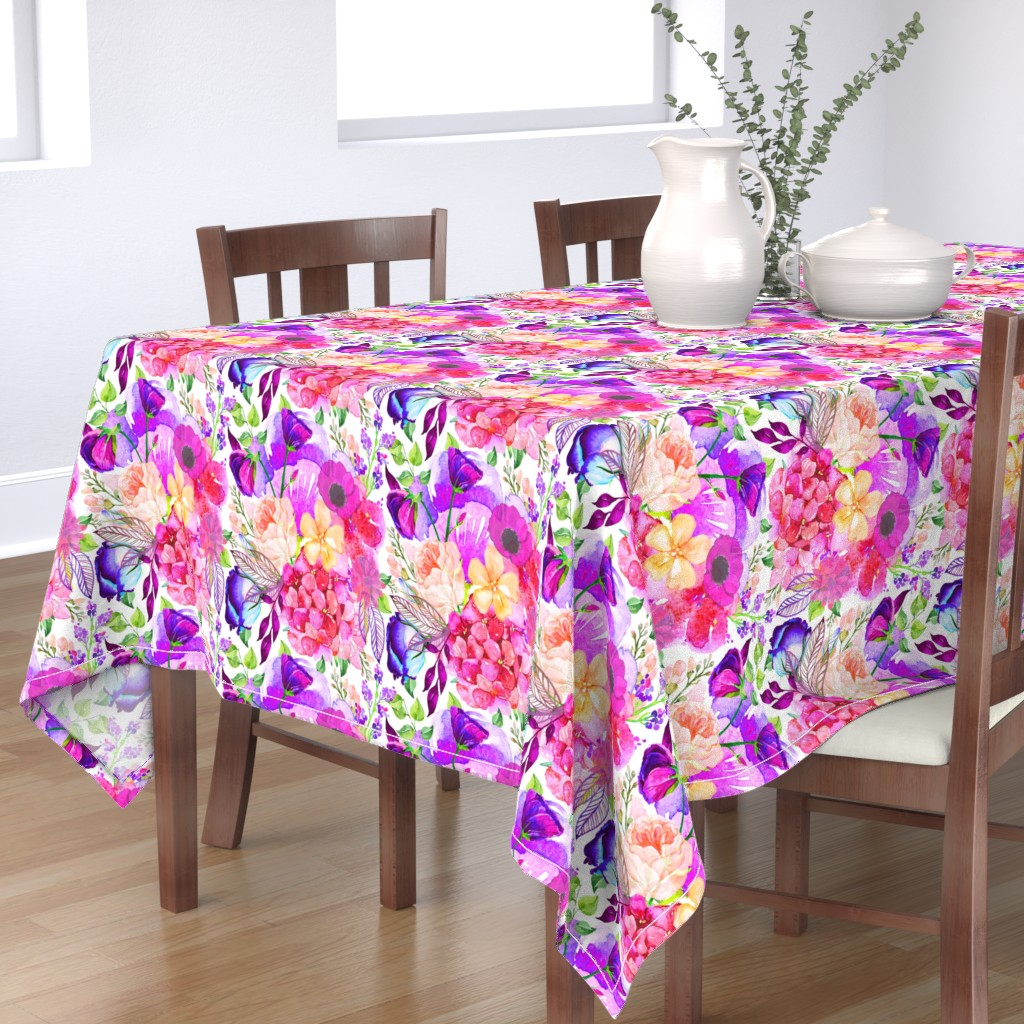 Bantam Rectangular Tablecloth featuring Pretty in Pink Watercolor Floral  by theartwerks