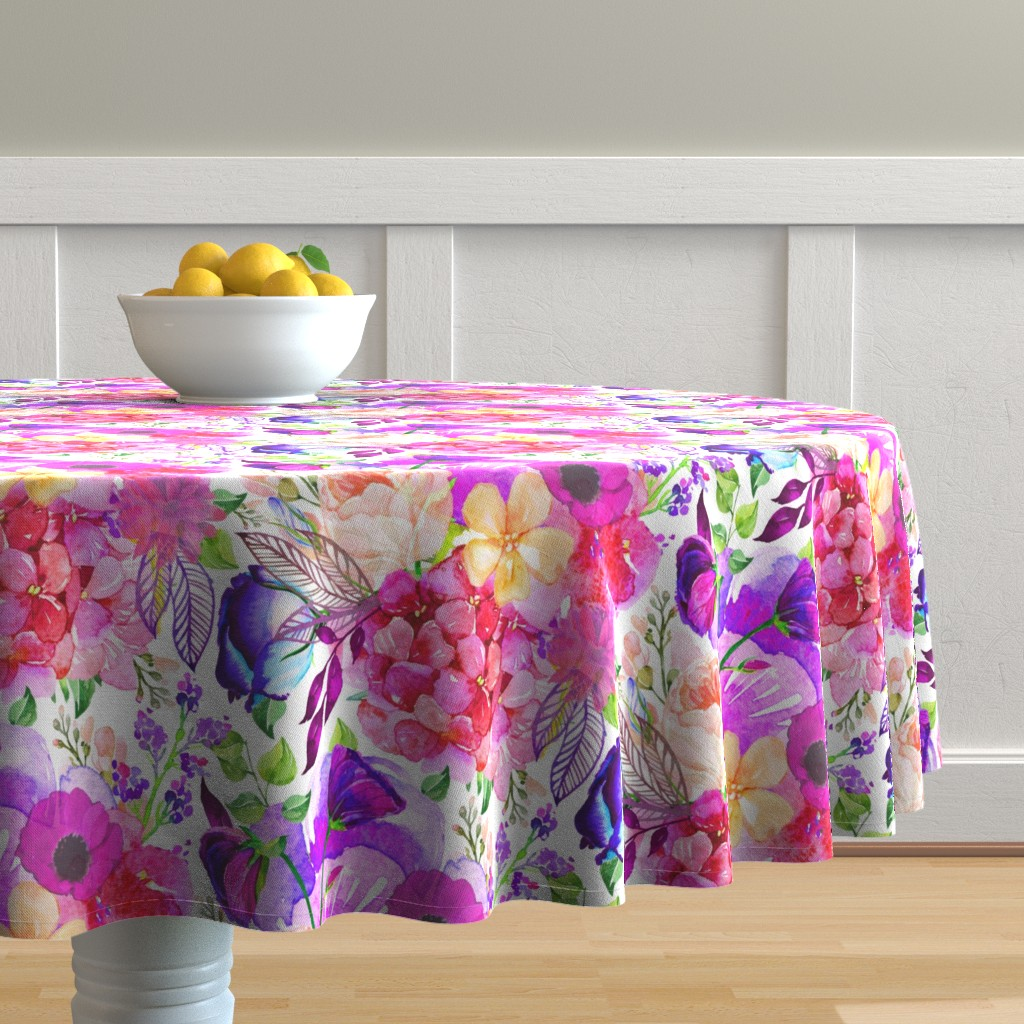Malay Round Tablecloth featuring Pretty in Pink Watercolor Floral  by theartwerks