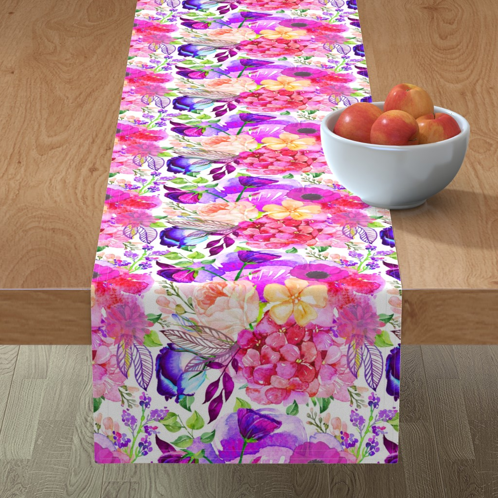 Minorca Table Runner featuring Pretty in Pink Watercolor Floral  by theartwerks