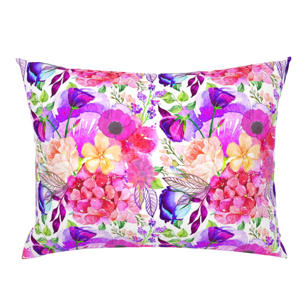 Campine Pillow Sham featuring Pretty in Pink Watercolor Floral  by theartwerks