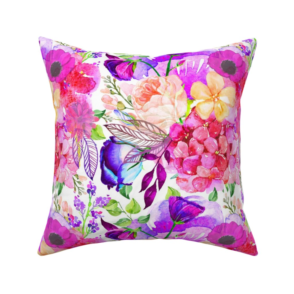 Catalan Throw Pillow featuring Pretty in Pink Watercolor Floral  by theartwerks