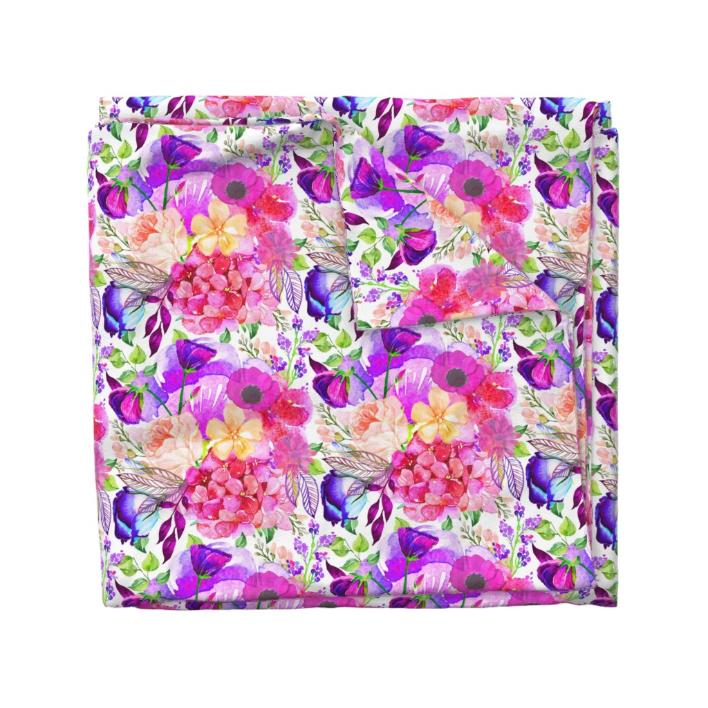 Wyandotte Duvet Cover featuring Pretty in Pink Watercolor Floral  by theartwerks