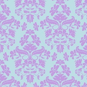 Glory Bee Damask in aqua and lavender