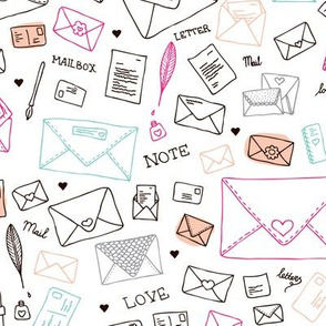 Love letters and notes romantic valentine and paper art design