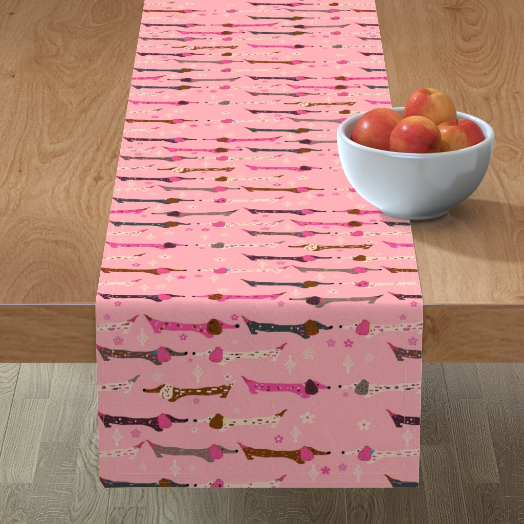 Minorca Table Runner featuring Dappled Dachshunds on Pink by theartwerks
