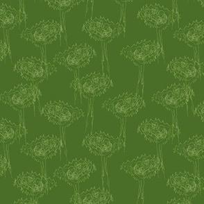 Bubbie's scribble trees on green