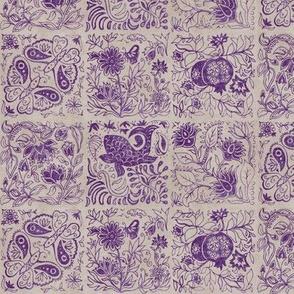 Palace Garden | Aubergine Woodblock Tile
