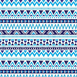 Winter aztec tribal geometric blue peru print XS