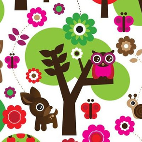 Deer owl sitting in a tree colorful summer woodland design for kids