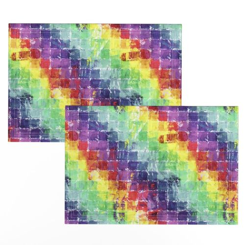 Watercolor Placemats Geometric  Painted Art Rainbow Cloth Placemats by Spoonflower Set of 2 - Painted Rainbow Squares by bonnie/_phantasm
