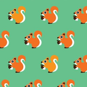 Retro fall orange squirrel autumn woodland animals scandinavian forest gender neutral