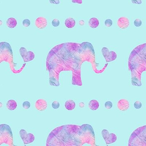 Pink and Purple Watercolor Elephant on Aqua Background