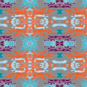Grey Orange and Blue Abstract