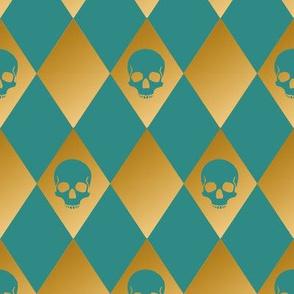 Teal and Gold Harlequin Skull