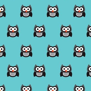 Retro blue scandinavian Boy Owls