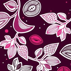 Organic garden pink blossom night