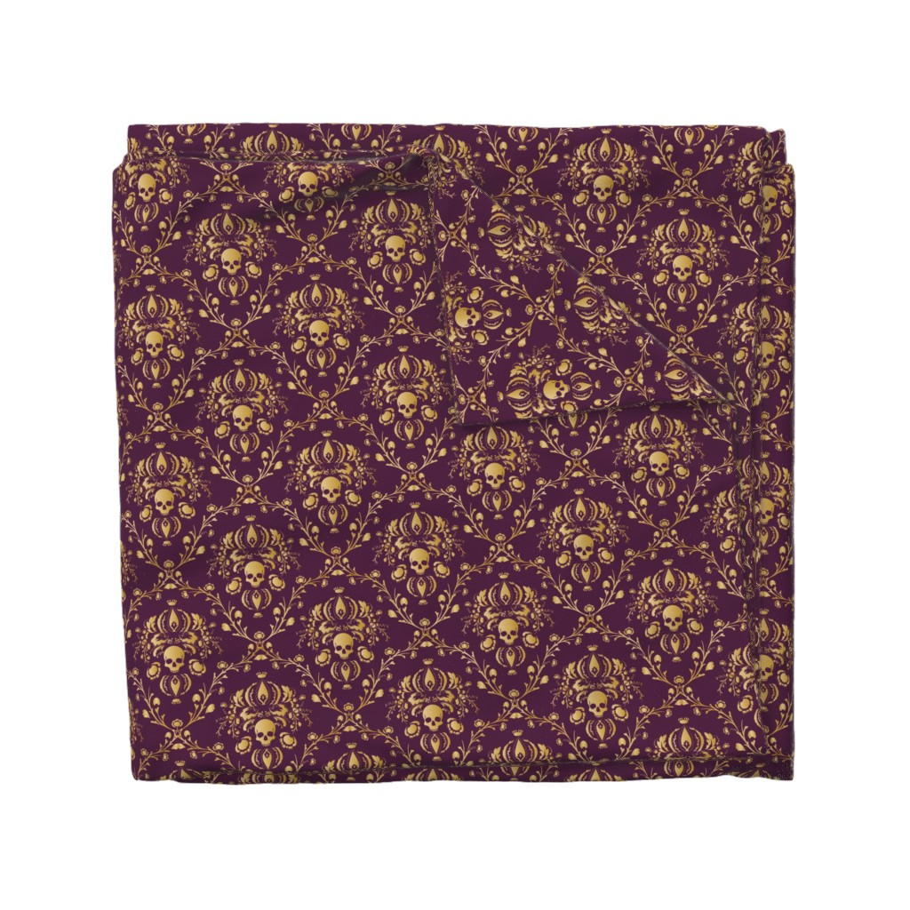 Wyandotte Duvet Cover featuring Purple and Gold Damask Non-distressed by elizabeth
