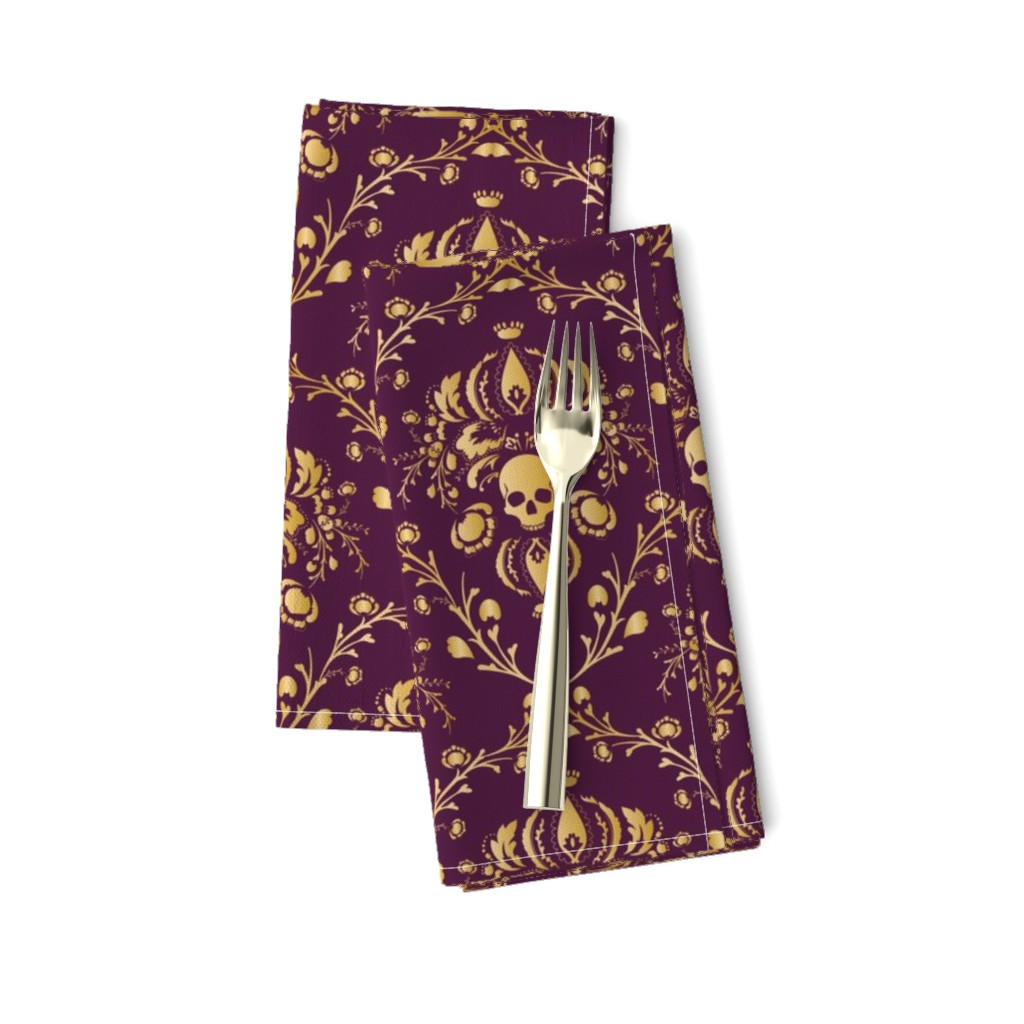 Amarela Dinner Napkins featuring Purple and Gold Damask Non-distressed by elizabeth