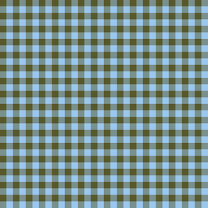 sky and olive gingham