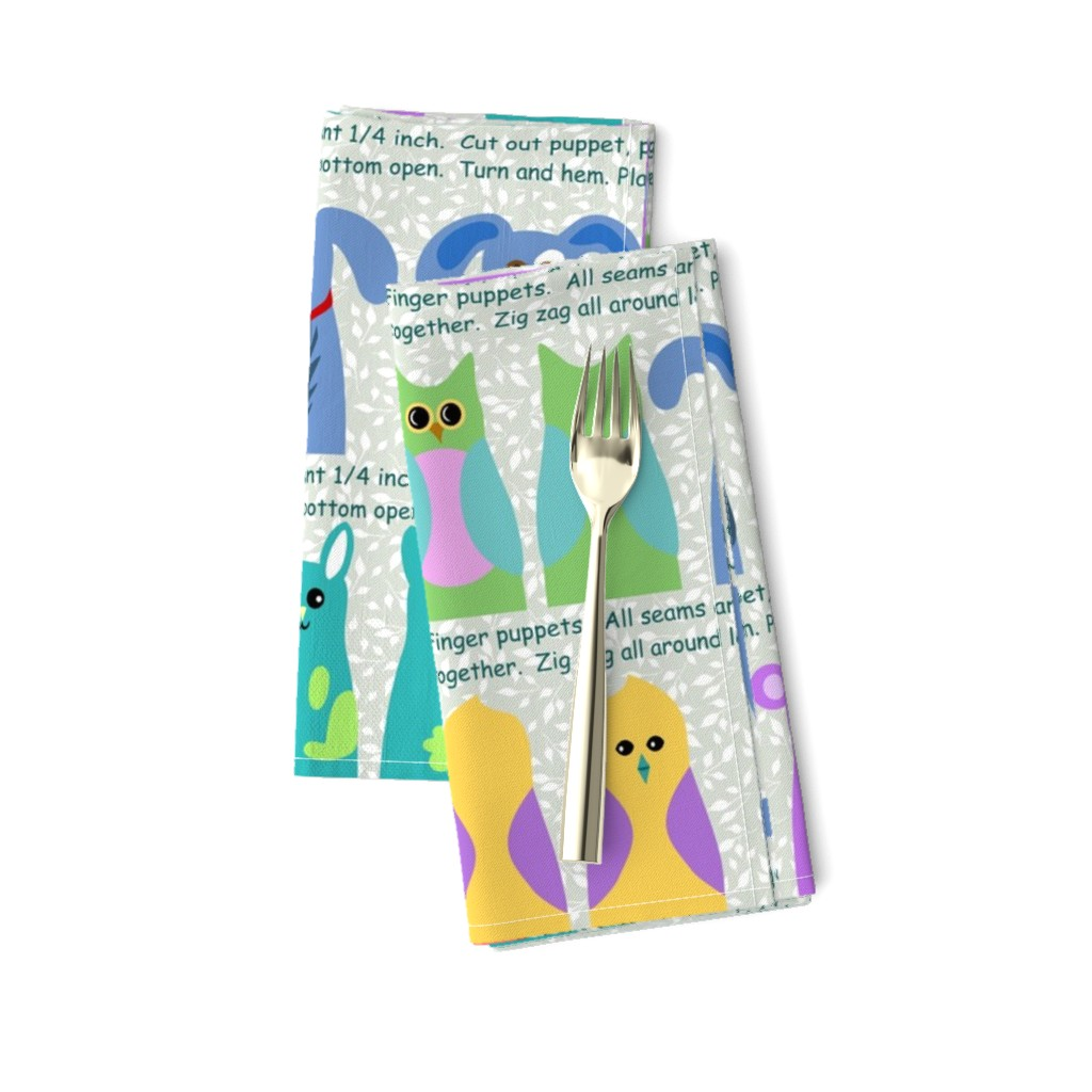 Amarela Dinner Napkins featuring animal kingdom finger puppets by vo_aka_virginiao
