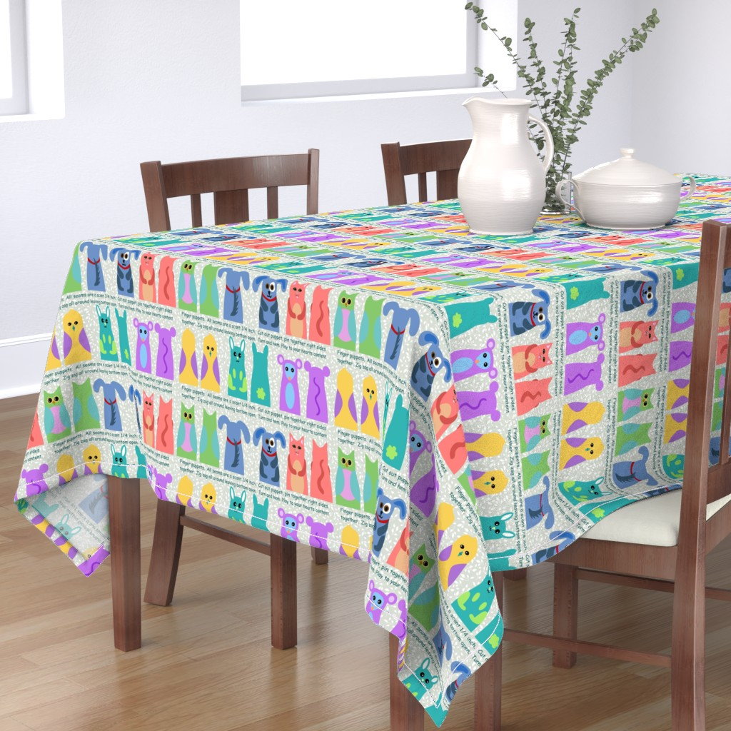 Bantam Rectangular Tablecloth featuring animal kingdom finger puppets by vo_aka_virginiao