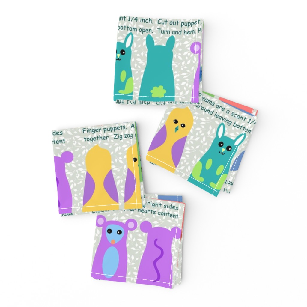 Frizzle Cocktail Napkins featuring animal kingdom finger puppets by vo_aka_virginiao