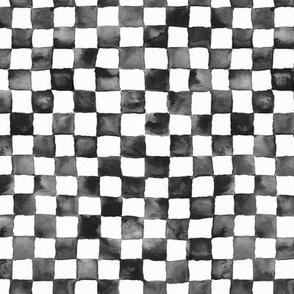 "small watercolor checker, 1/2"" squares - black and white"